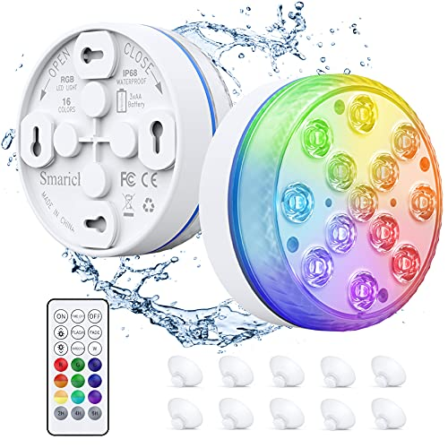 Smarich Unterwasser LED Licht, Poolbeleuchtung mit RF-Fernbedienung, IP68 Wasserdichtes Pool Beleuchtungen mit 13 LED, Pool Licht mit 4 Magnet, 4 Saugnäpfen für Teich Schwimmbad Vase Party(2 Stück)