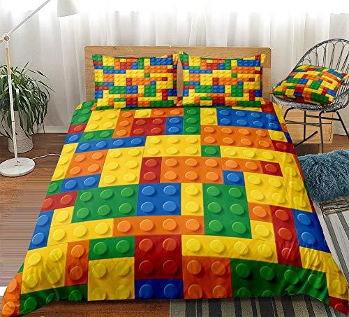 Fundas Nordicas Cama 90 Lego Colorido Ropa de Cama 150x220 cm Microfibra Suave y Transpirable Antialérgico y Antidecoloración Juego de Cama + 2 Fundas de Almohada 50x75 cm