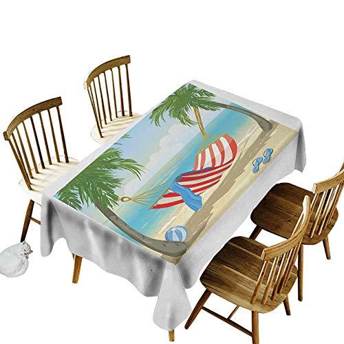 Beach Machine Washable Rectangular Tablecloth Hammock Between Palm Trees on Beach Cartoon Style Illustration Digital Composition Oil-Proof Spill-Proof Durable Rectangular Tablecloth 54x108 Multicolor
