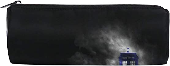 BHRETI Pencil Case Makeup Bag Doctor Who HD Wallpapers Zipper for Boys Girls Students Stationery Office Supplies Round Stationery Bag