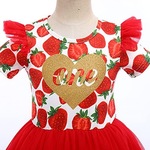 FYMNSI Vestido de manga larga para bebé con estampado floral de algodón, tutú, vestido de princesa, vestido de fiesta, otoño, para sesiones de fotos. rojo 9-12 Meses