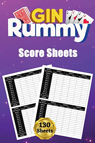 Gin Rummy Score Sheets: 130 Large Score Pads for Scorekeeping  Gin Rummy Score Cards  Gin Rummy Score Pads with Size 6 x 9 inches