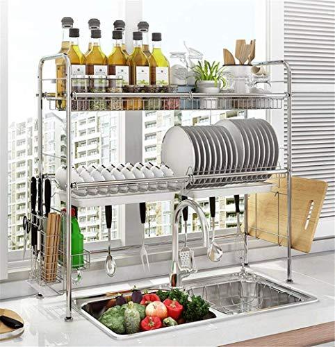 FEE-ZC Praktisch zu Hause Geschirrtrockner über der Spüle Edelstahl Geschirrständer Abtropffläche für Küchenbedarf Aufsatzregal Utensilienhalter, Silber