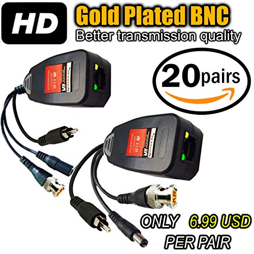 UTP balun hd Ventech cat5 to bnc Video baluns transceiver Passive with Power and Audio Connector Compatible with All CCTV Technologies(Analog AHD TVI CVI ntsc pal) 20 Pairs rj45 75 OHN connectors