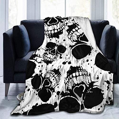 MODORSAN Black White Skull Gafas de Sol Manta de Tiro Súper Suave Cómoda Micro 50'x40' Manta de vellón Fuzzy Manta Decorativa Manta Ligera y acogedora para sofá Cama