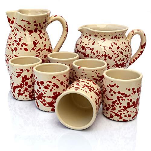 Set Sei Bicchieri in Terracotta, con Brocca Ursulo e Brocca Bombata Screziati Rosso, Set Brocca e Bicchieri, Set Bicchieri Acqua e Vino, Bicchieri Colorati, Brocca Vino, Brocca Acqua