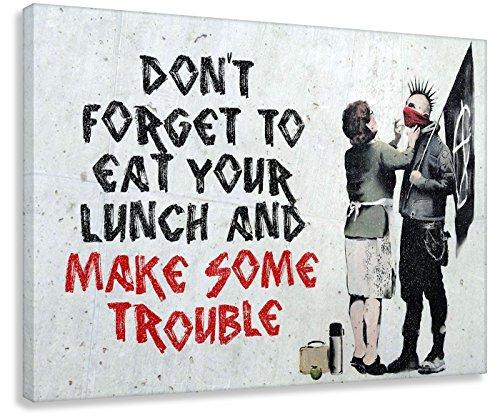 Kunstbruder Leinwandbild Like Banksy Make Some Trouble! (div. Größen) Bild fertig auf Keilrahmen Kunstdruck auf Leinwand Wandbild Dekoration Street-Art Graffiti (80x120 cm)