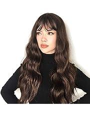 Vigorous Long Wavy Wigs withs Bangs Synthetic Medium Length Wig