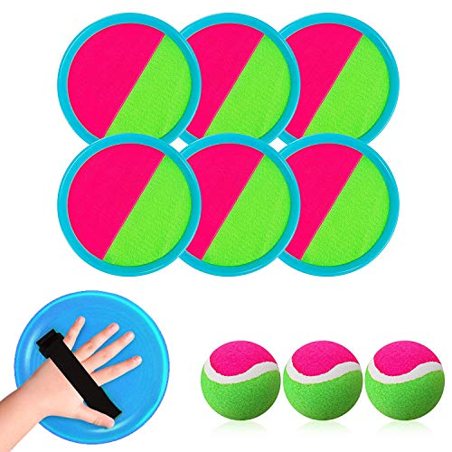 Fesap8DuOh 3 Set Toss and Catch Ball Set, Perfect Outdoor Activity Gift for Sports, Suitable for Kids/Adults Backyard Beach Party with Storage Bag (6 Paddles and 3 Balls)