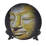 Plato decorativo de cerámica colgante de 15,24 cm, cara mística de un viejo sabio antiguo que se abre estilo gótico, impresión de obra de arte decorativa de cerámica para mesa de comedor, catering