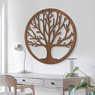 Silhouette d'arbre décoration murale en bois placage en bois d'acajou Arbre de vie, symbole de la nature : force, sagesse,...