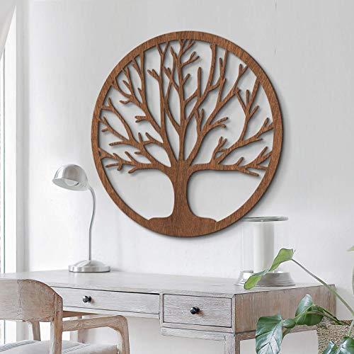 Holzdeko Mahagoni Furnier - Holz in natur - Baum des Lebens - Wall-Art ø 60 c
