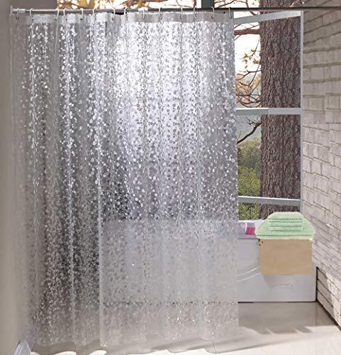 Eurcross Halbtransparente Duschvorhang Wasserdicht anti schimmel mit 6 Haken, 3D-Effekt Cobblestone Duschvorhang Durchsichtige Kieselsteine, 90 x 180cm