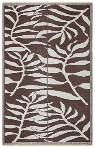 Lightweight Indoor Outdoor Reversible Plastic Area Rug - 5.9 x 8.9 Feet - Leaf Pattern - Brown/White