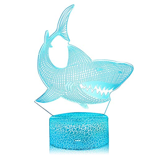 AZALCO 3D Illusion Shark Night Lamp 16 Color...