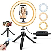 """10"""" LED Ring Light with Tripod Stand & Phone Holder, UBeesize Dimmable Desk Makeup Ring Light, Perfect for Live Streaming & YouTube Video, Photography, 3 Light Modes and 11 Brightness Levels"""