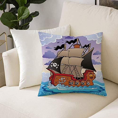 Fundas de Cojines (50 x 50cm) - Cremallera Invisible,Piratas, misteriosos mares tormentosos con banderas de barcos de vela Ondas remo, Decorativa, Lavable Funda Almohada para Sala de Estar, Dormitorio