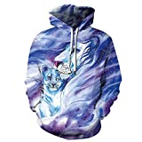 Fansu Homme Sweats à Capuche Imprimé 3D Hoodie, Mode Créatif Animalier Unisexe Manches Longues Sport Casual Tops Pullover Automne Hiver Sweat-Shirts Vêtements (XL,Lion Blanc)