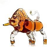GJX Juego de Jarras y Vasos de Whisky Whiskey Jarra del Vino del Licor Bull Estilo 1000ml Personalidad Animal Jarra Alta de borosilicato de Plomo Libre de Cristal