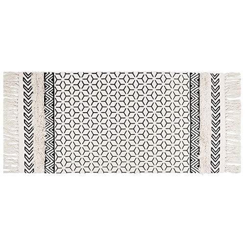 SHACOS Vintage Teppich Baumwolle Waschbar Marokkanische Teppiche für Flur Eingangsteppich Innen Schwarz Teppich Wohnzimmer 60x130 cm Teppich Gewebt Baumwolle Waschbar