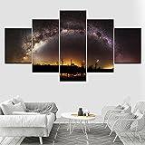 GCKJ Cuadro en Lienzo Hermoso vasto cielo estrellado y vista nocturna de la Vía Láctea 100x55cm Impresión de 5 Piezas Material Tejido no Tejido Impresión Artística Imagen Gráfica Decoracion de Pared T