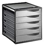 Rotho Spacemaker Schubladenbox / Bürobox mit 5 Schüben, Kunststoff (PS) BPA-frei, transparent/anthrazit, (33,5 x 28,5 x 32,0 cm)