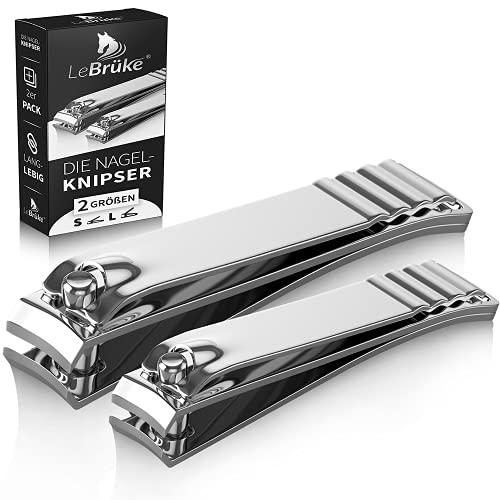 Lebrüke® Nagelknipser 2er Set - In 2 Größen für glatten Schnitt - Premium Nagelschneider und Nagelschere Fußnägel und Fingernägel