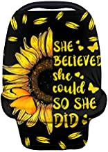 Wanyint Personalized Sunflower Quotes with Butterfly Baby Car Seat Covers - Carseat Canopy for Babies Boys Girls,Multi-Use Nursing Breastfeeding Covers,Nursing Scarf