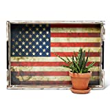 Envdex American Flag Serving Tray - 20' - Rustic Wooden Ottoman Tray - Farmhouse Kitchen Decor - Coffee Table Accent - Large Serving Tray - Handles - Tea, Coffee, Breakfast - American Flag
