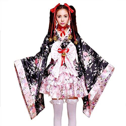 tzm2016 - Kimono japonés con diseño de flores de cerezo, Fibra de poliéster, negro, XXXL