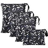 WD&CD 4 Pcs Bolsa de Pañales, Bebé Impermeable Reutilizable Lavable Bolsa Organizador de Maquillaje con Cremallera, 1 x Grande, 2 x Medianos, 1 x Pequeño