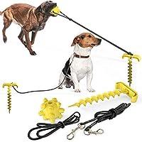 犬の鎖、犬用アウトケーブル、ドッグヤードリーシュとステーク、キャンプや庭に最適1個 (イエロー)