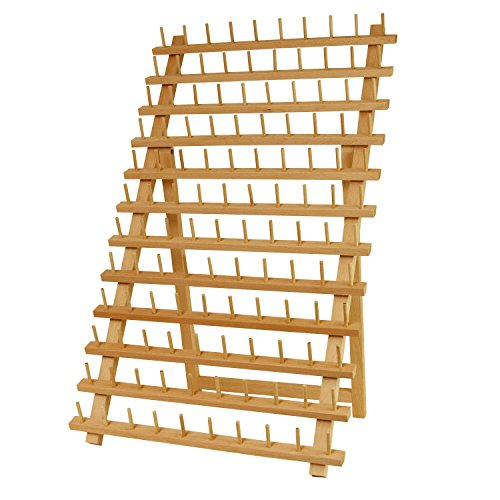 US Art Supply Premium Beechwood 120-Spool Sewing and Embroidery Thread Rack