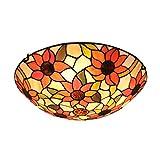 Lámpara de techo de la flor de Sun del estilo de Tiffany de la luz de techo del vintage, Accesorios de iluminación de techo de vidrieras para sala de estar de dormitorio, E27,40cm