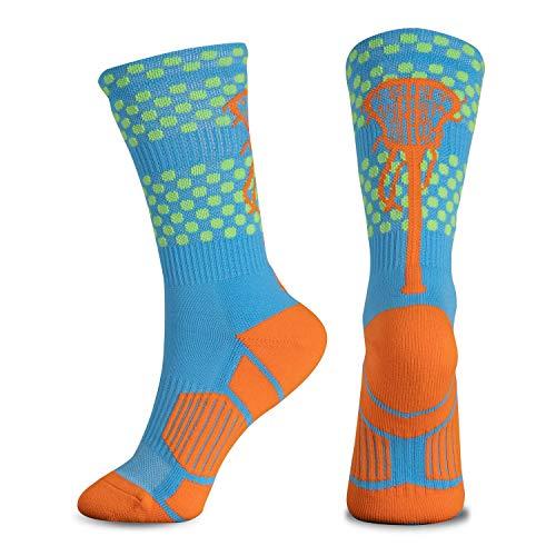 ChalkTalkSPORTS Athletic Half Cushioned Lacrosse Crew Socks | Mid Calf | Tropic Neon Lacrosse Design...