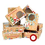 Hemoton 16 Cajas de Galletas Navideñas Cajas de Dulces de Donas de Papel Kraft...