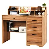 Computer Desk with Drawers and Hutch, Farmhouse Home Office Desk Writing Table Wood Executive Desk Student Desk with File Drawer for Small Space, Bedroom (Rustic Oak)