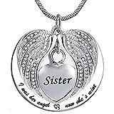 UGBJ Cenizas Colgante Acero Collar de la urna del ala de ángel para el corazón del corazón de la Ceniza del bastón del bastón de la joyería del Collar del Recuerdo con el Kit de llenado y el Regalo