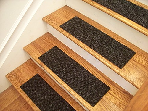 Essential Carpet Stair Treads - Style: Berber - Color: Charcoal Black - Size: 24
