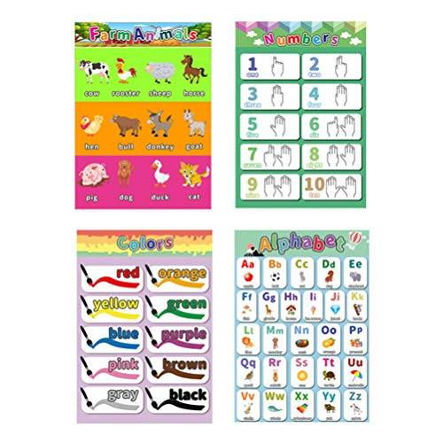 NUOBESTY Preschool Posters For Children, ABC Posters for Kids,Toddler, Nursery, Kindergarten, Early Learning, Classroom Wall Chart Pack - Fun Early Learning for Alphabet Letters, Numbers,Colors,4pcs