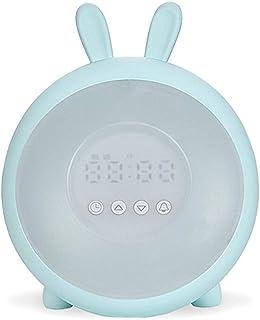 目覚まし時計付きusb充電器スヌーズナイトライト7色バックライト調光可能変色ホーム寝室のベッドサイドキッズ学生ギフト Jrbedwlijzn (Color : B, Size : 15.1*18.2cm)