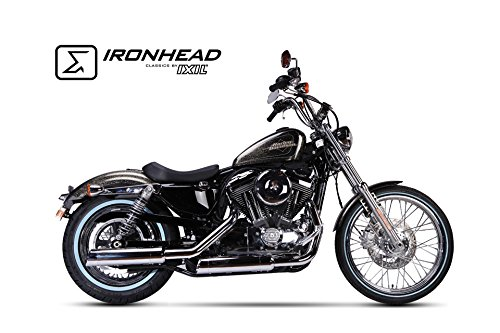IXIL IRONHEAD - Scarico di scarico in acciaio inox cromato per Harley Davidson Sportster XL 883/1200, 14-16, slip, D = 88 mm, L = 400 mm