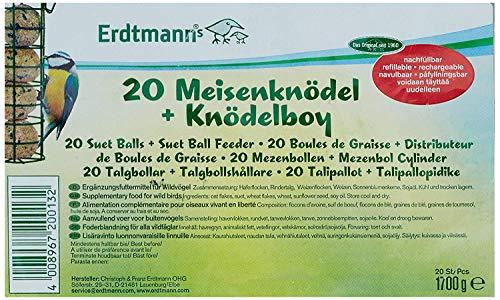 Erdtmanns Boule de Graisse sans Filets/Distributeur pour Oiseaux 20 Pièces