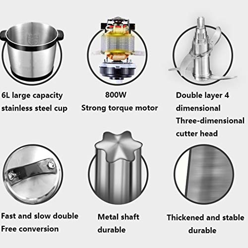 Electric Food Chopper, Household And Commercial Food Processor, 6L High Capacity Stainless Steel Bowl Grinder for Meat…