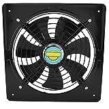 1500 U/m Ventilator, mit Stromleckage und Überhitzungsschutz, Eisen-Lüfter, 35.5X35.5X13.5cm Badezimmer-Eisen-Abluftventilator, 220V(schwarz)