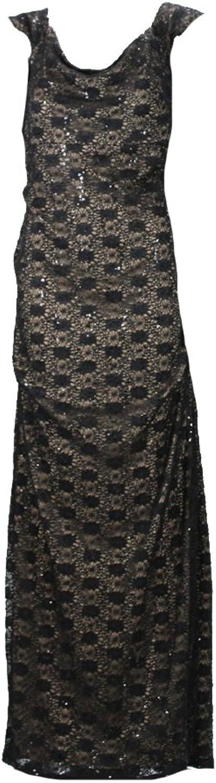 Alex Black Lace Cap Sleeve Evening Dress Msrp