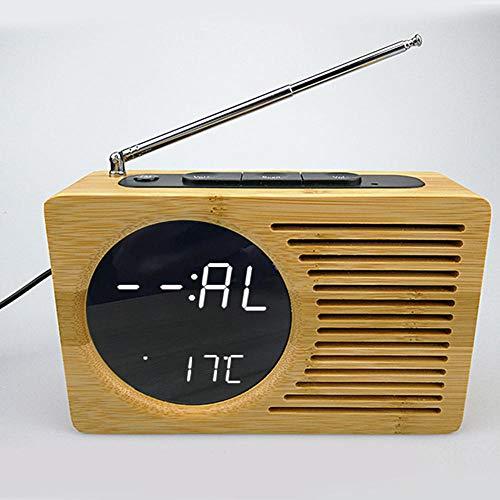 FPRW Digitale geluidsgestuurde led-wekker, temperatuurweergave, decoratieve bamboeklok, radio, vintage klok voor thuis, wit