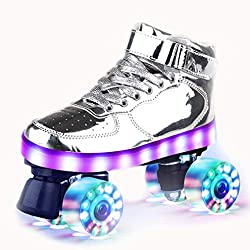 Damen Rollschuhe High-top Mädchen Roller Skate Wiederaufladbare Zweireihige Rollschuhe Glänzende Speed-Skates für Jungen Erwachsene Teens Männer Unisex mit Schuhtasche (Silber, EU:36-US:5.5)