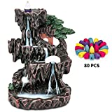 Pavo cristatus Backflow Incense Burner,80 Pcs Waterfall Incense Cones - 4 Fragrances with 20 Backflow Cones Each Variety Pack