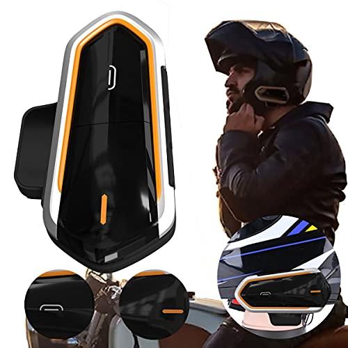 healthwen QTBE6 Casco de Motocicleta Intercomunicador Auriculares Intercomunicador inalámbrico Manos Libres Impermeable Radio FM Auriculares Auriculares de Motocicleta Negro y Naranja